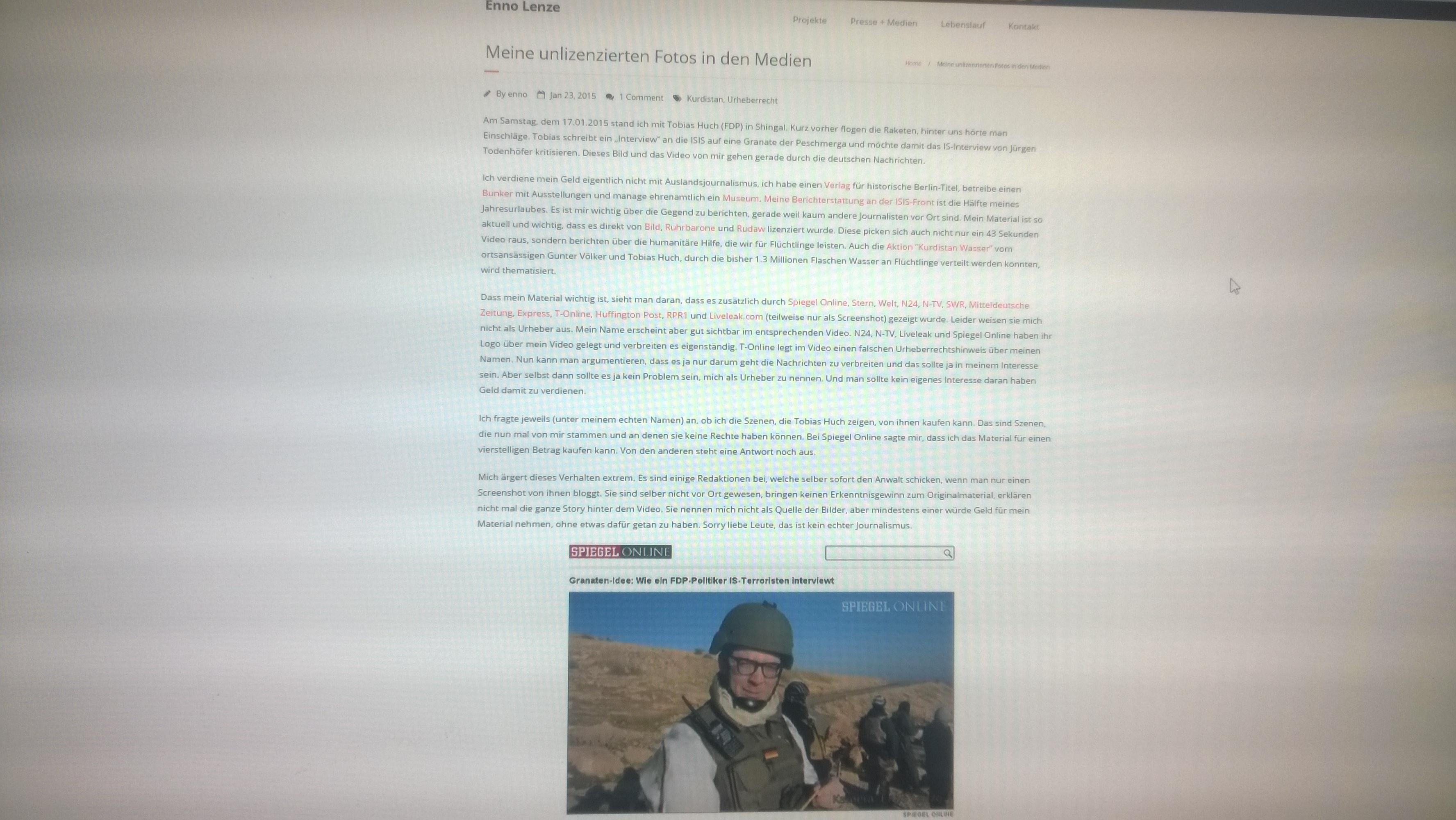 Enno Lenze, Tobias Huch und das Irak Video in den Medien