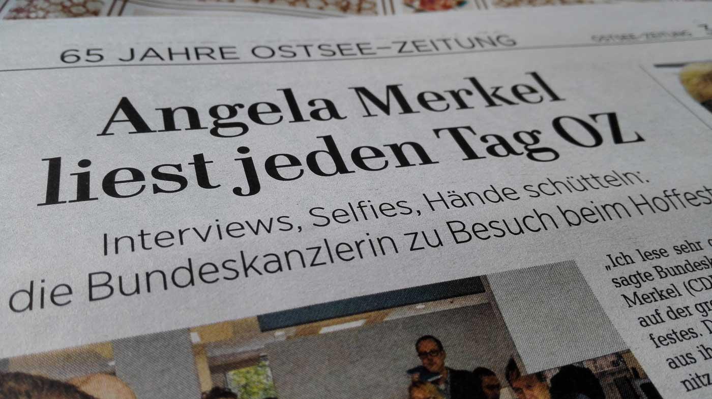 Angela Merkel liest jeden Tag OZ - Ostsee Zeitung Sonderbeilage 11.09.2017