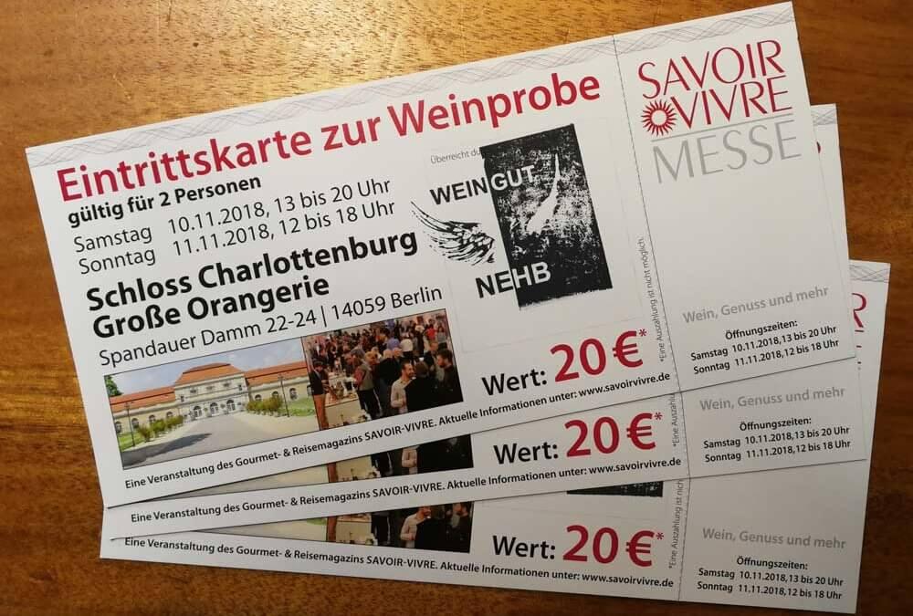 [Werbung] Freikarten für Savoir Vivre Messe/Weinprobe in Berlin am 10./11. November im Schloss Charlottenburg